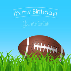 birthday card with a football on grass in a sunny day