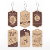 Fototapety Food vintage labels with stripe
