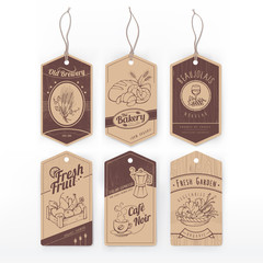 Food vintage labels with stripe