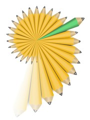 Yellow and one green office wooden pencils in swirl