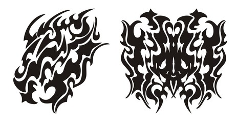 Tribal dragon head and dragon butterfly tattoo