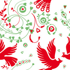 Seamless floral pattern, birds