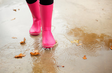 Woman with pink rubber boots walking through puddle
