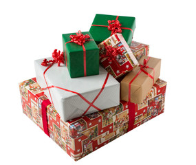 Xmas gift boxes on white background