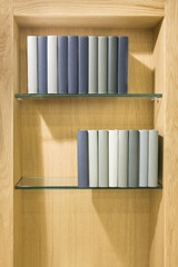 Books on the glass shelf