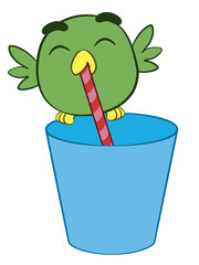 Adorable cartoon bird drinking through a straw