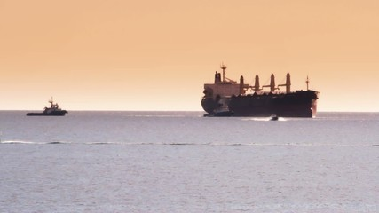 Timelapse of a general cargo ship and tugs