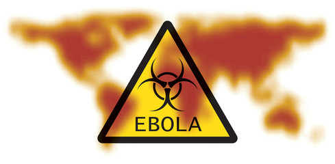 Map of Earth with sign Ebola Virus