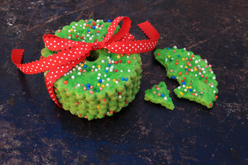 Christmas cookies tied together with a ribbon