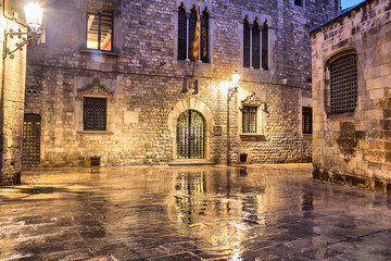 Gothic quarter of Barcelona in wet weather conditions