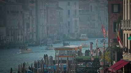 Gondolas near Rialto Bridge in Venice, Italy