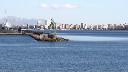 Breakwater and lighthouse of Alicante harbor