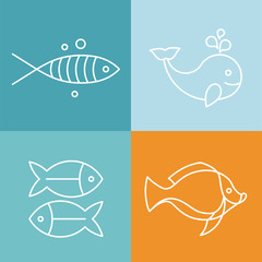 Vector line fish logos and signs