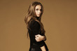 canvas print picture - Beautiful young woman with long brown hair. Pretty model poses a