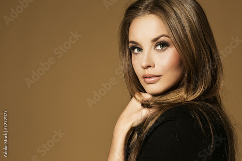 Portrait of wonderful young blonde woman poster
