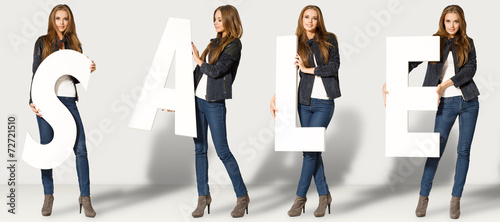 Young woman with sale letters - 72721510
