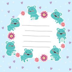 cute teddy bear memo layout design