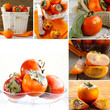 collage juicy orange persimmon ripe fruit