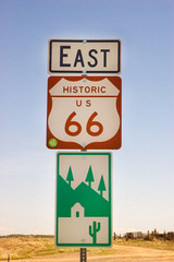 Historic US 66 Highway East sign in New Mexico
