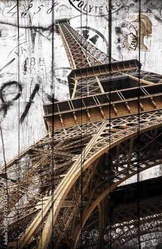 obraz PCV Tour Eiffel legno cartolina rocznika