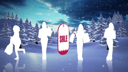Christmas sale advertisement with snow falling on forest
