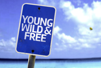 Young Wild & Free sign with a beach on background