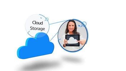 Blue cloud computing graphic on white
