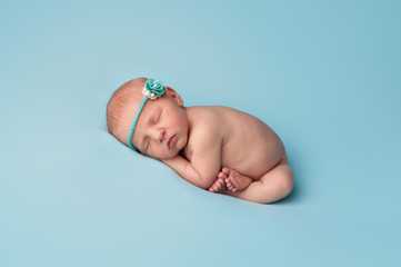 Sleeping Newborn Baby Girl with Blue Rose Headband