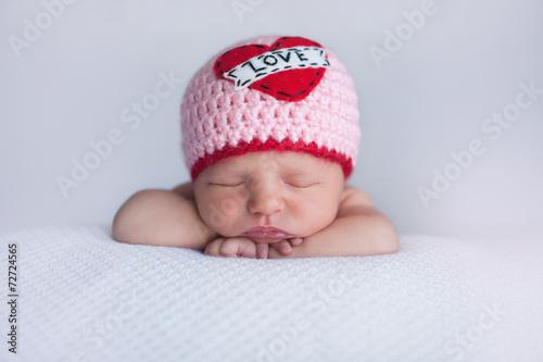 Newborn Baby Girl Wearing a