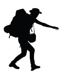 Backpacker vector silhouette