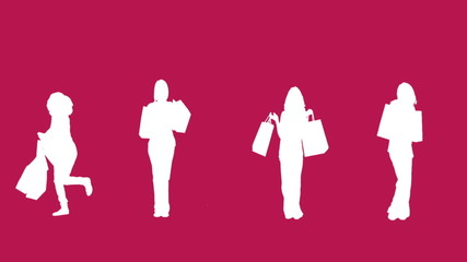 Silhouettes of women with her shopping on pink background