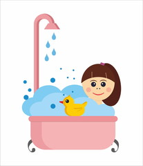 girl in a bath with rubber duck