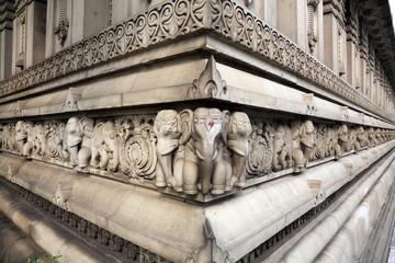 Stone carvings in Hindu temple Birla Mandir in Kolkata