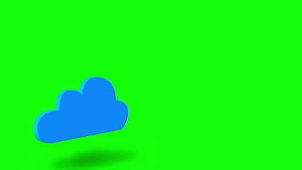Blue cloud computing graphic on green screen