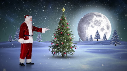 Santa standing in the north pole showing christmas tree