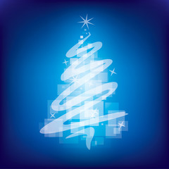 Blue magical Christmas tree