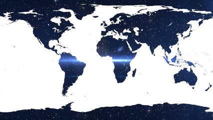 World map against shimmering blue background