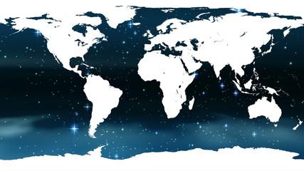 World map against blue shimmering background