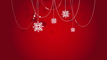 Red Christmas background with snowflkes, Video Animation, HD 108