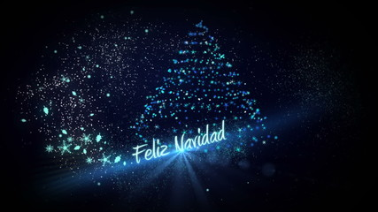 Blue light forming christmas tree design with greeting