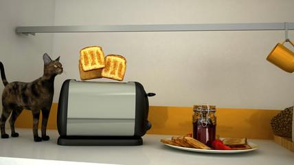 Cucina, prima colazione, 3d, gatto