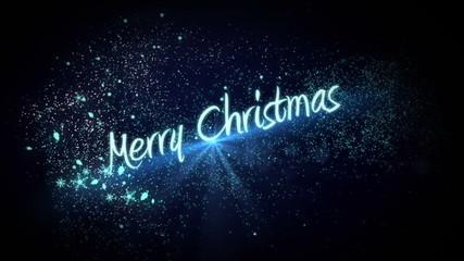 Blue light forming christmas greeting