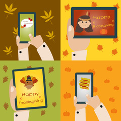 Happy Thanksgiving with smart phone and tablet