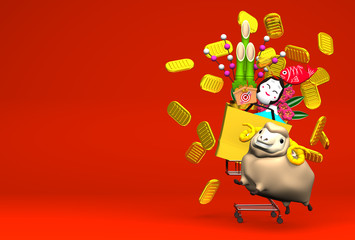 Sheep, New Year's Ornaments, Shopping Cart On Red Text Space
