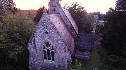 Aerial view of old church at sunset