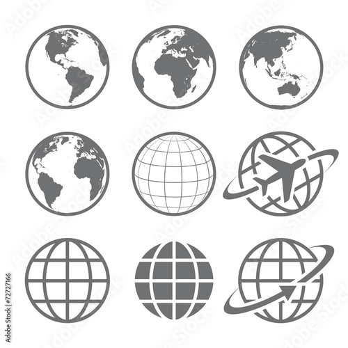 Earth globe Icon set poster