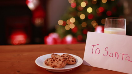 Cookies and milk left out for santa claus