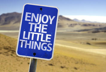 Enjoy the Little Things sign with a desert background