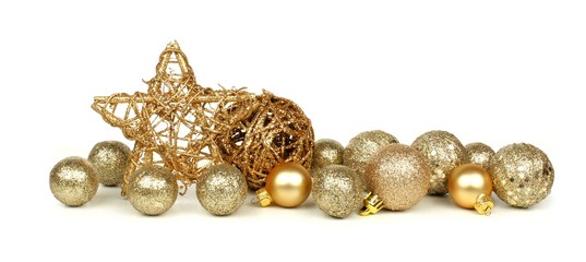 Golden Christmas border of stars and ornaments