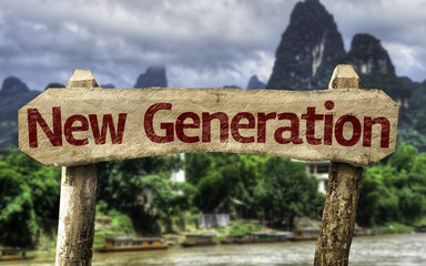 New Generation sign with a forest background